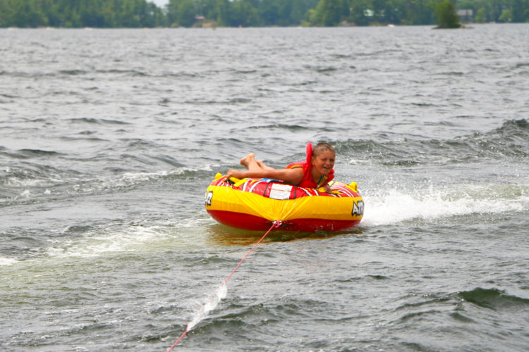 Tubing on Stoney Lake at Viamede Resort